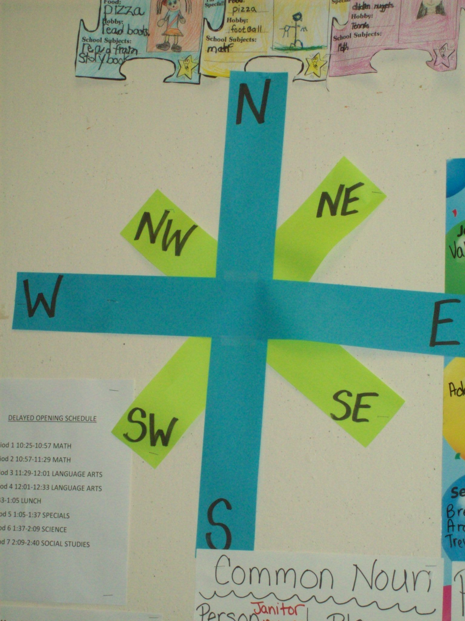 Compass Rose Using Sentence Strips