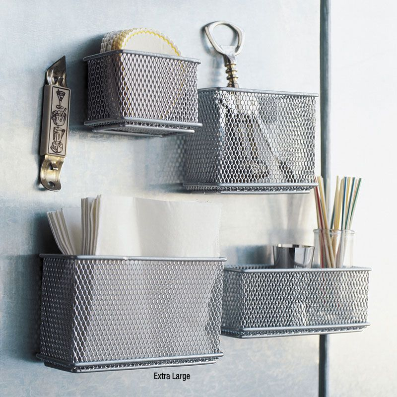 Design Ideas | XL Silver Mesh Magnetic Storage Basket | HomeArama