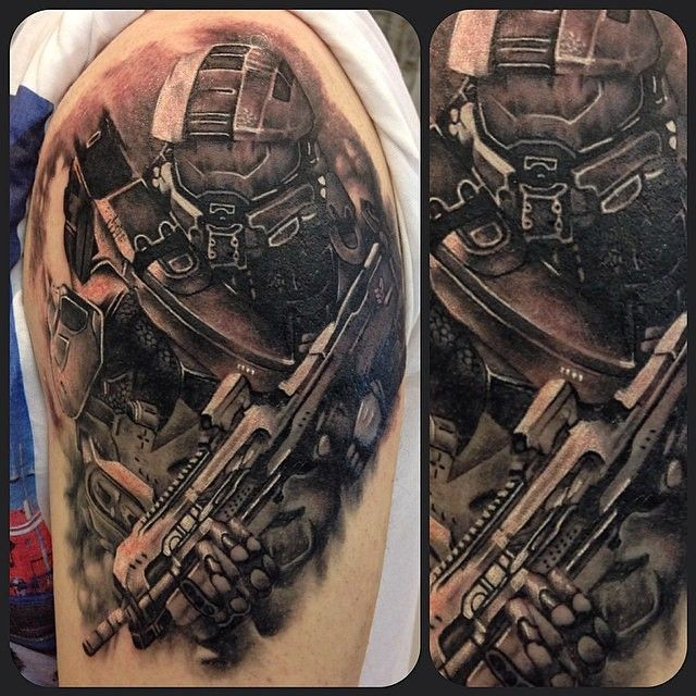 15 fantastic video game tattoos tattoos pinterest halo tattoo another badass halo tattoo by jennifer sterry publicscrutiny Gallery