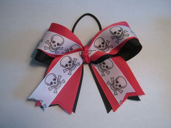Skull and Cross Bones Hair Bow by NotAnotherHairBow on Etsy, $8.00