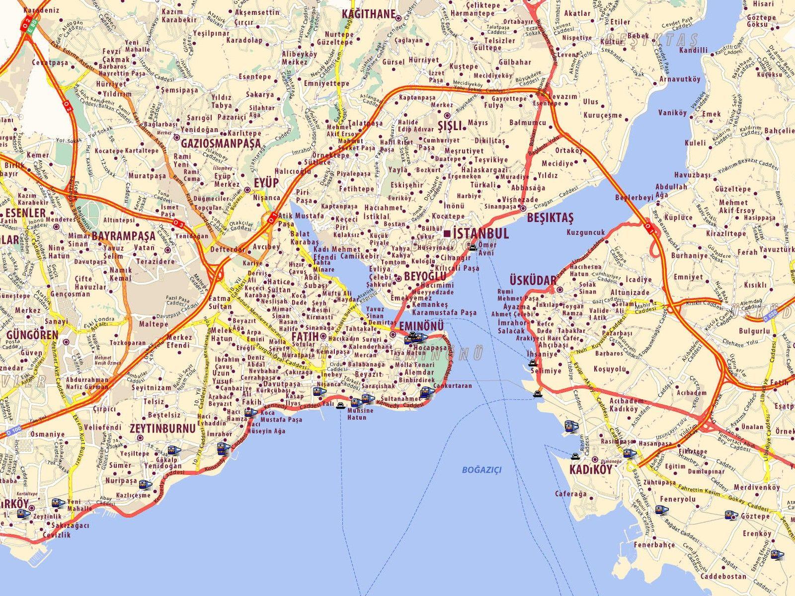 Map Istanbul Istanbul Map Map of Istanbul Harita Pinterest
