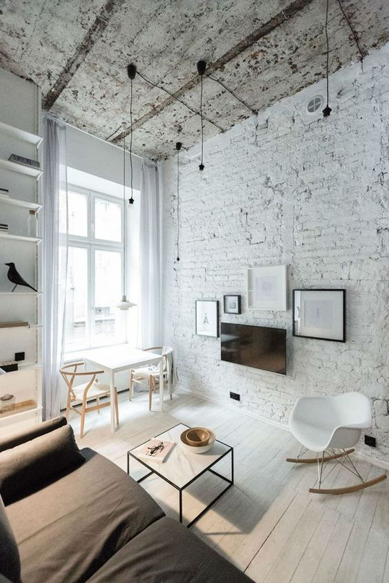 cool living room design with brick walls a rough ceiling and minimalist lamps living rooms pinterest appartement deco et dco maison with deco mur brique