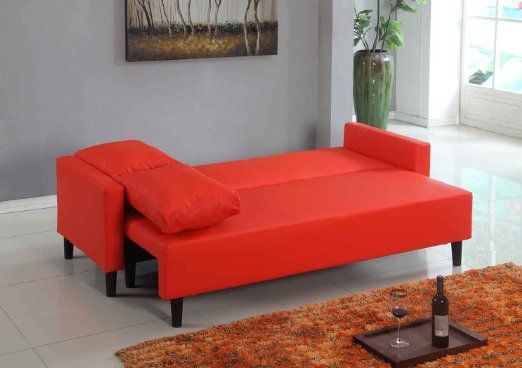 Large Red Leather Modern Contemporary Quality Sleeper Sofa Futon