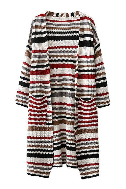 Multicolor Front Pockets Stripe Pattern Cardigan