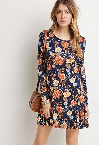Rose Print Smock Dress | Forever 21 - 2000173522