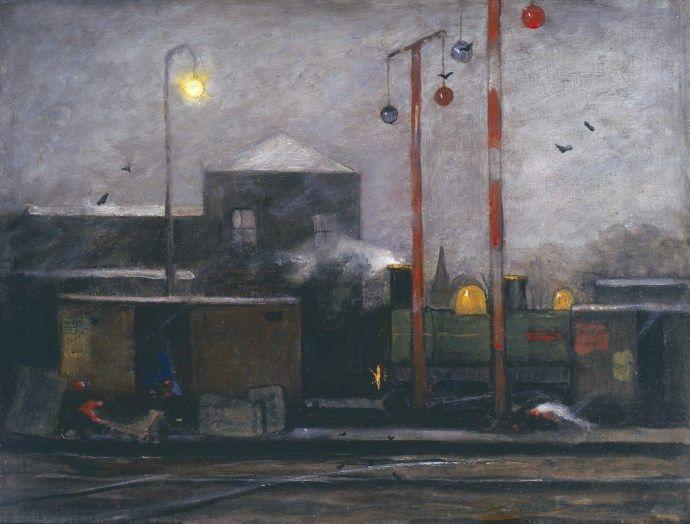 Johann 'Eduard' Karsen (Amsterdam 1860-1941) Spoorwegemplacement bij nacht - Kunsthandel Simonis en Buunk, Ede (Nederland).