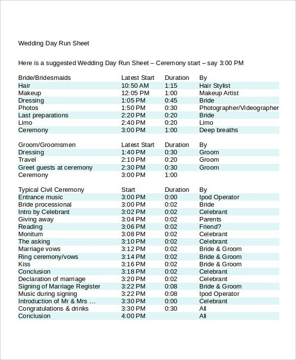Image Result For Wedding Day Run Sheet Template Excel