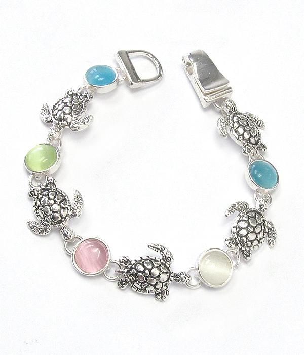 Turtle And Stone Mix Link Magnetic Bracelet This Is About 7 Inches Long Works For S As Well