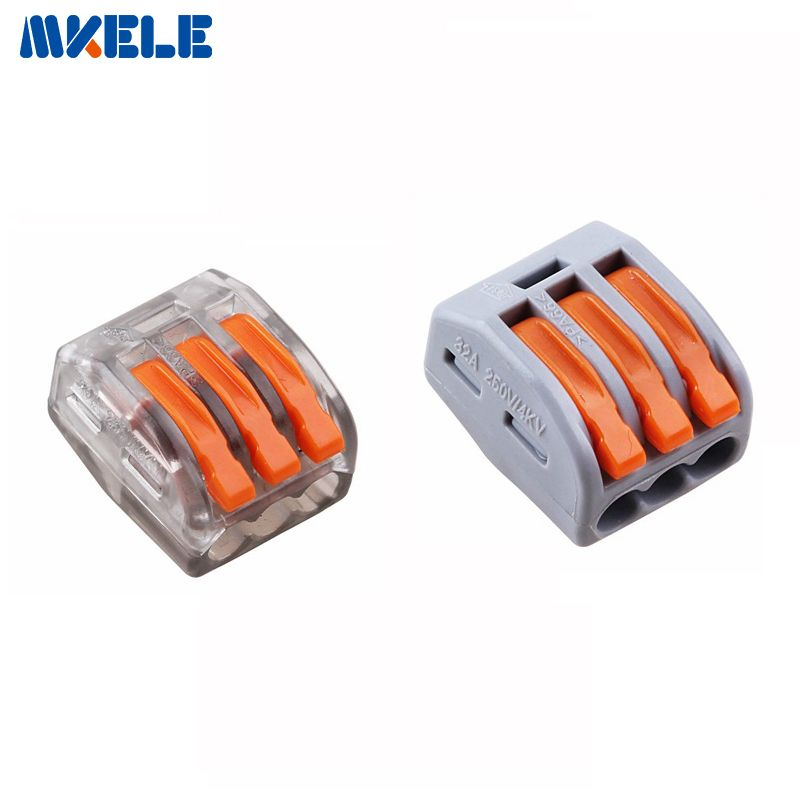 10 stücke WAGO 222-413 Universelle Kompakte Verdrahtung Stecker 3 pin Leiterklemme Mit Hebel AWG 28-12