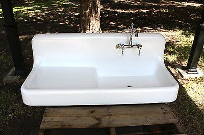 Antique Cast Iron High Back With Drain Board Farmhouse Sink Professionally Refinished Circa1925 Antique Cast Iron Farm Sink Farmhouse Sink Kitchen
