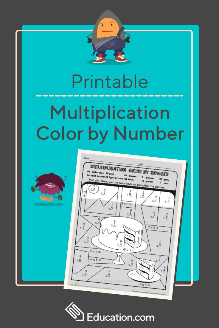 Multiplication Color by Number: Cake | homeschool | Pinterest ...