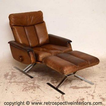 Danish Retro Leather Chrome Reclining Armchair Stool Vintage