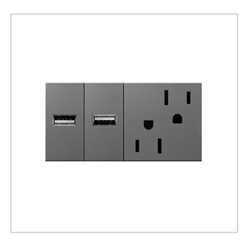 Furniture Power Outlet And 2 USB Ports Magnesium