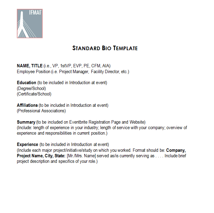 Standard Bio Template  Miscellaneous    Sample Resume