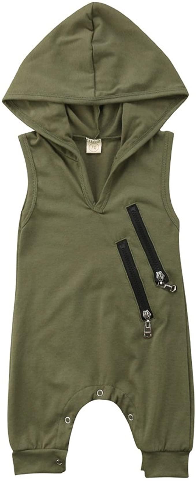 Sleeveless Newborn Baby Boys Girls Hooded Romper Green Jumpsuit Outfit Summer Zipper Casual Clothes
