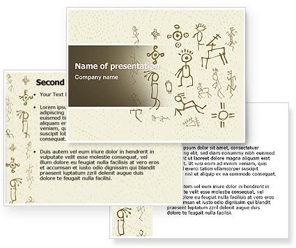 Ancient Pictographs Ancient Petroglyphs PowerPoint Template - history powerpoint template