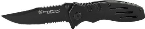Smith  Wesson Extreme Ops SWA24S Liner Lock Folding Knife Partially Serrated Clip Point Blade -- You can get additional details at the image link.