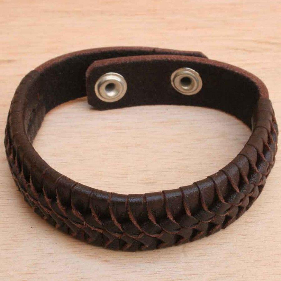 Leather Bracelets For Men  Brown Leather Braided Bracelet For Men   Handmade  Mens Men's