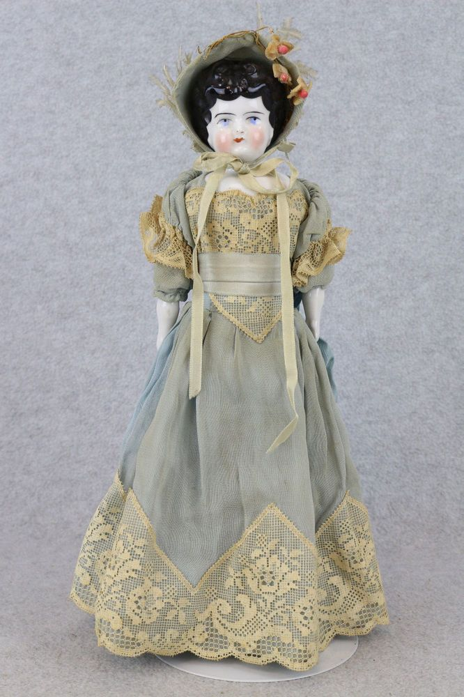 "12"" antique German china head Hertwig lady doll with unique Floral print body"