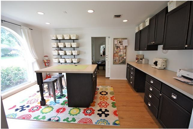 Formal Living Room Becomes Fabulous Craft Room   Black cabinet ...