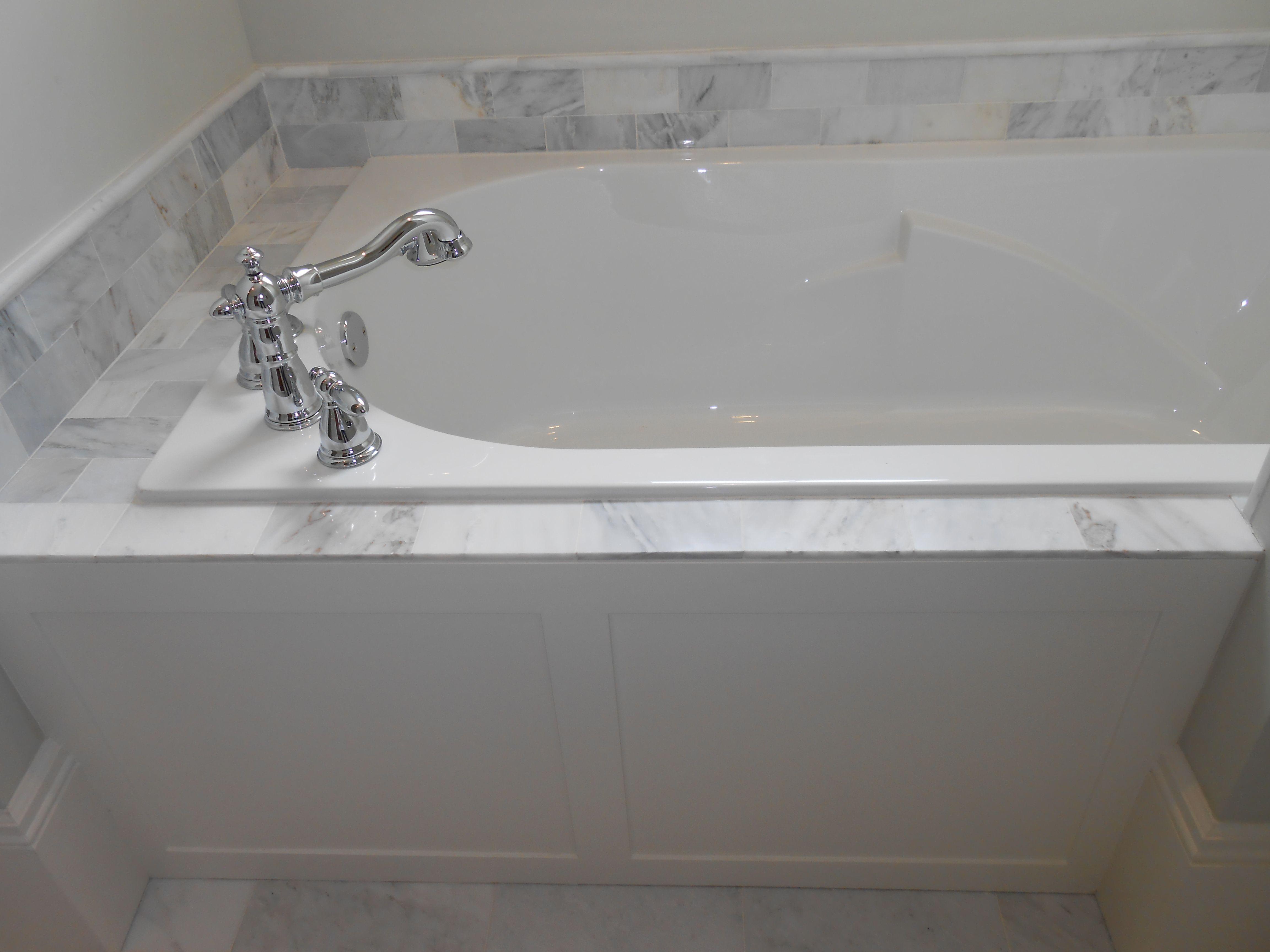Master Bath - custom designed and built tub panel, white ...