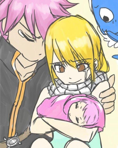 Nalu baby! Kawaii! See that Lucy has Natsu's scarf