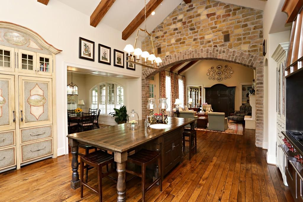 Wood Beams And Brick Wall With Arch My Dream Kitchen