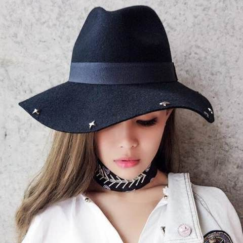 Fashion ladies black wide brim fedora hat with star studded felt hats for  winter b1f4d8e983e8