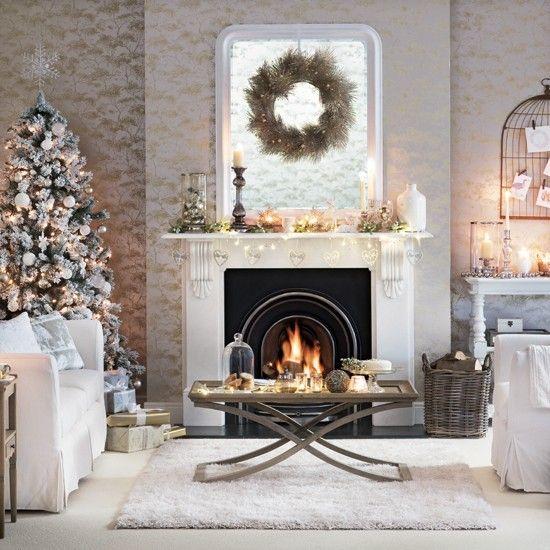 Weiß und Silber Wohnzimmer mit Weihnachten …Wohnideen | Herbst ...