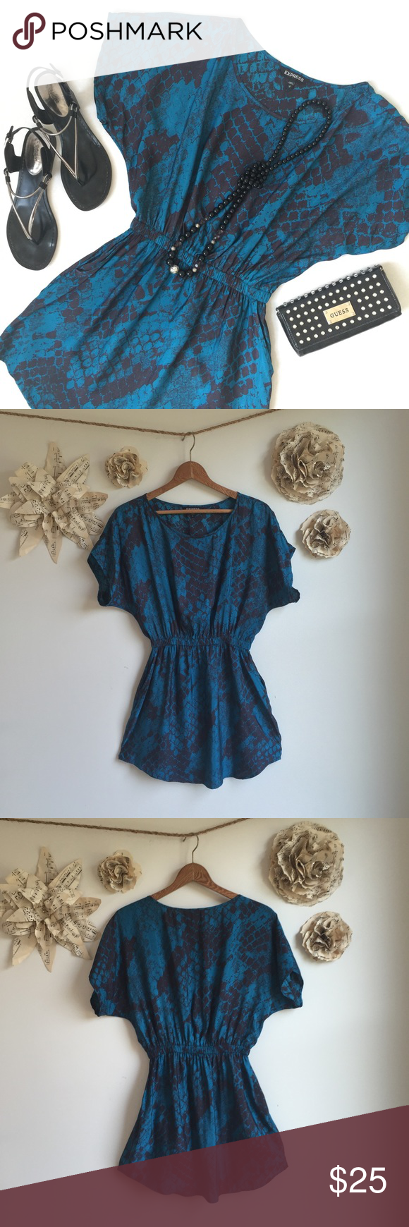 Express Reptile Print Dress Beautiful blue reptile print dress from express. Silky feel and breezy. Elastic waist and front pockets. Great for a night out on the town. Just needs some sexy black heels. Length 34in. 100% Polyester. Perfect condition! Express Dresses