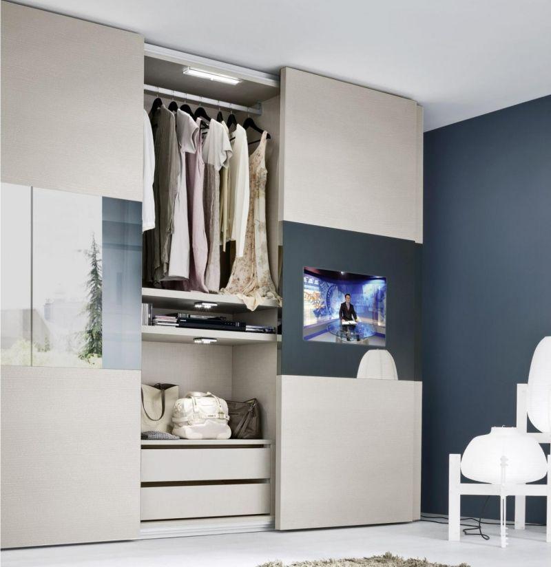 kleiderschrank mit led-beleuchtung und fernseher   schlafzimmer, Schlafzimmer design