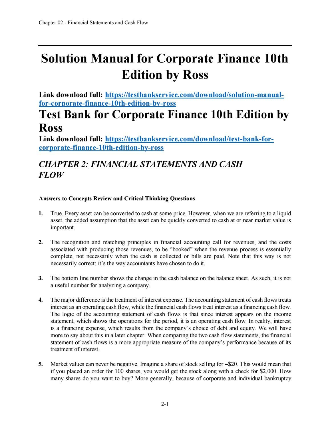 Explore these ideas and more! Solution Manual for Corporate Finance 10th  Edition ...
