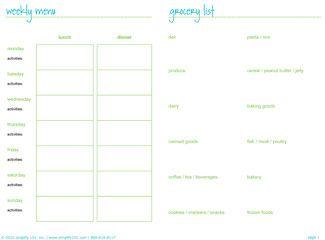 weekly meal list