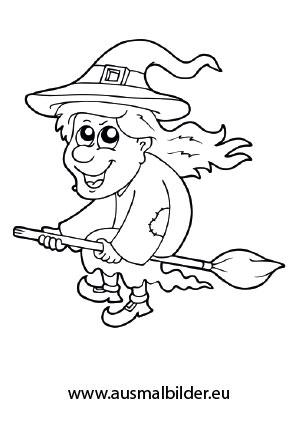 Ausmalbilder Halloween Alte Hexe Auf Ihrem Besen Ausmalbilder Ausmalen Halloween Ausmalbilder