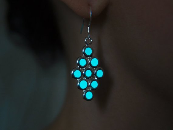 Glowing Earrings Aqua Circles Glow In The Dark