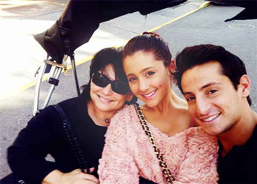 Ariana Grande with her brother and her mom