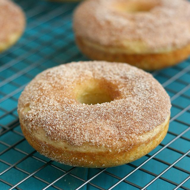 """""""healthier"""" baked donuts. Recipe uses Greek yogurt. I have some baking right now and can't wait to try them!"""