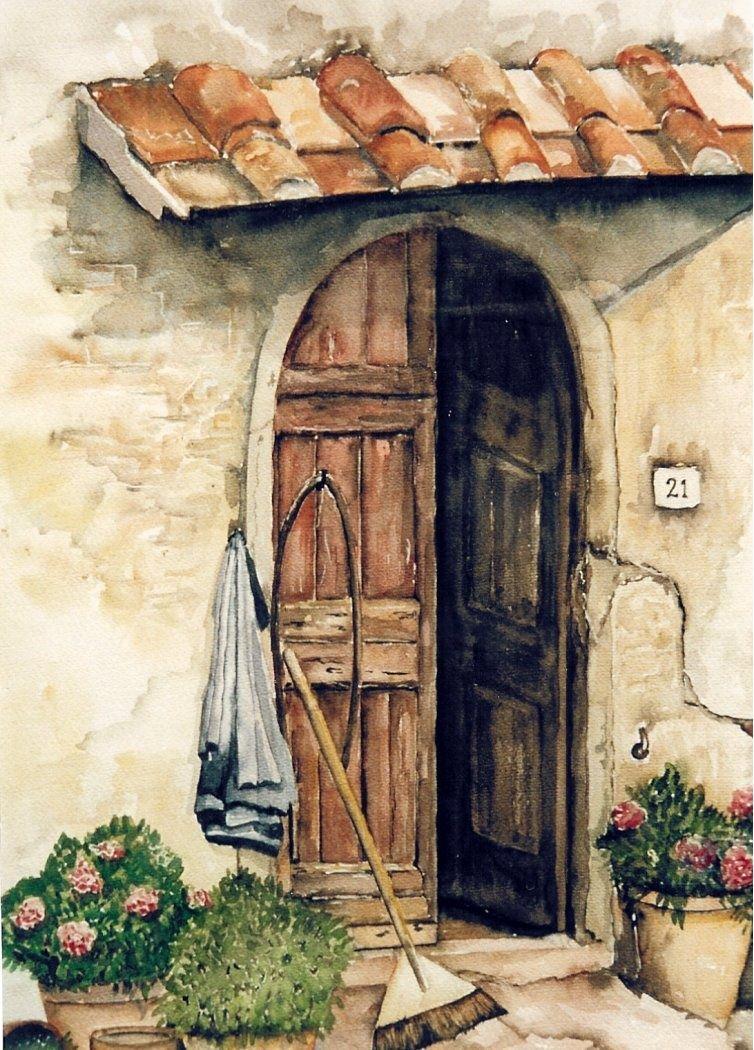 Art Watercolor Door Italy Brown Old Made By