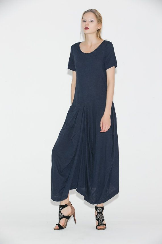 34763710e88d Linen dress, navy blue dress, womens dresses, maxi dress, dress, causal  dress, asymmetrical dress, s