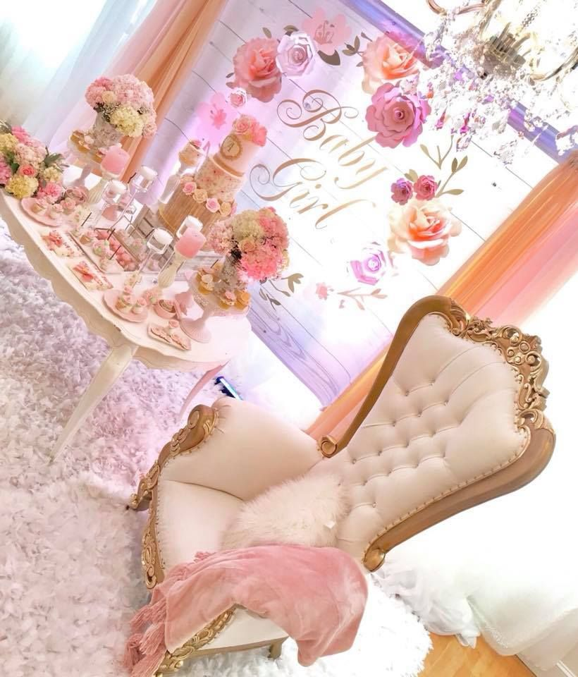 Pretty Pink And Floral Baby Shower Background And Chair Mom To Be