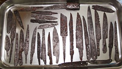 lot of 30 Medieval Roman iron dagger blades spear tools antique