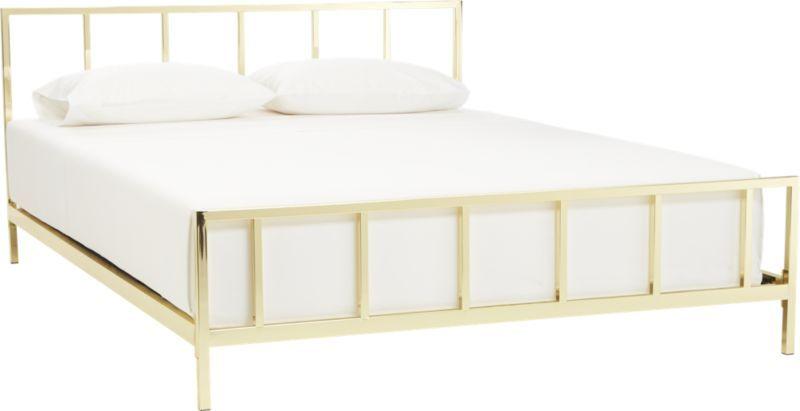 Alchemy Shiny Brass Queen Bed, White Brass Queen Bed