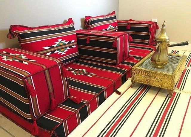 جلسة عربيه من قماش السدو Arabic Floor Seating Room Decor Ottoman Decor