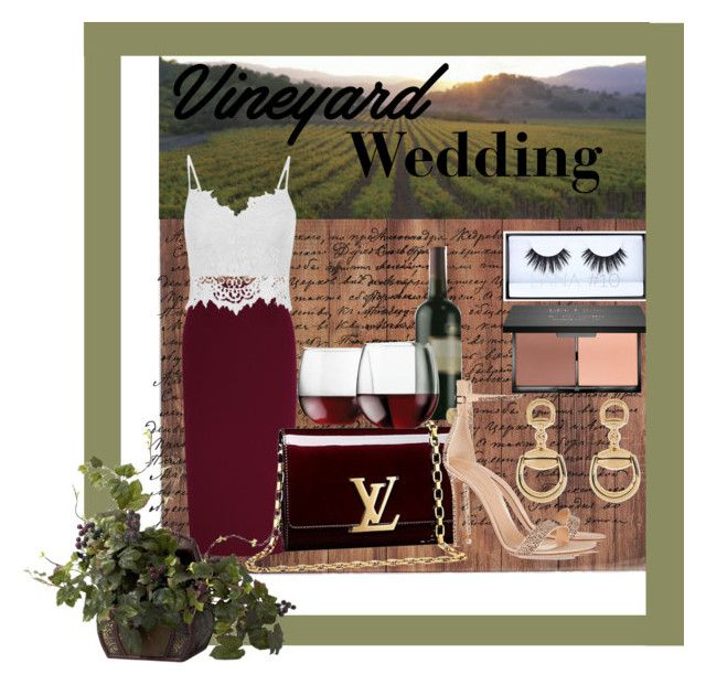 """""""Vineyard Wedding Outfit"""" by iggi-poyugao ❤ liked on Polyvore featuring Typhoon, Roland Mouret, Louis Vuitton, Libbey, Huda Beauty, Gianvito Rossi, Gucci, Nearly Natural, napa and winerywedding"""