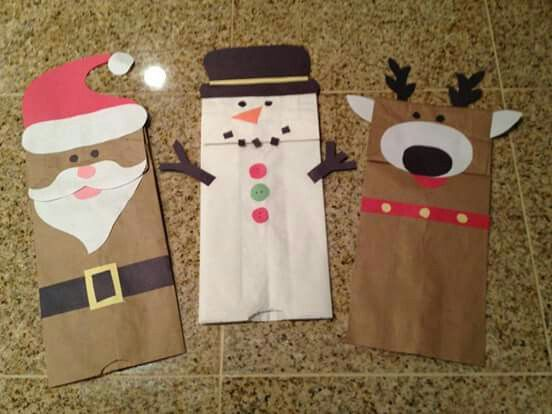 Christmas Puppets Crafts Paper Bag Puppets Titeres Navidad Paper Bag Crafts Preschool Christmas Christmas Crafts