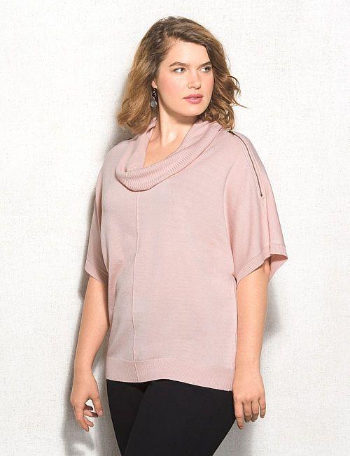 Roz & ALI Plus Size Zip-Shoulder Cowl Neck Sweater | dressbarn ...