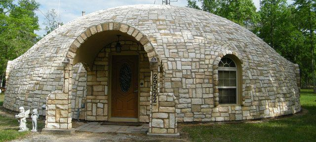 Beautiful Stone Work On This Monolithic Dome Home Owned