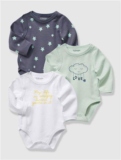 Lote de 3 bodies algodón stretch bebé recién nacido AZUL CLARO LISO CON  MOTIVOS+ROSA CLARO LISO CON MOTIVOS 4af205706965