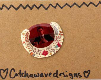 Agent Cooper Brooch - Twin Peaks inspired brooch! - Agent Dale Cooper drinking coffee brooch - weird brooch