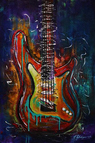 fine art print colorful electric guitar stratocaster music string instrument acrylic painting. Black Bedroom Furniture Sets. Home Design Ideas